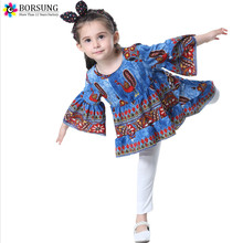 BORSUNG Latest Girls dresses Summer 2017 Children Clothes Girls Long Sleeve Peacock Printed Princess Dress Toddler Girl Dresses