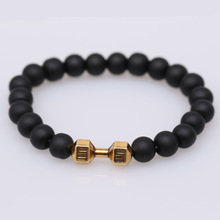 Mdiger Novelty Metal Barbell Shaped Bracelet American Style Adjustable Dumbbell Bracelets Frosted Beads Bracelet