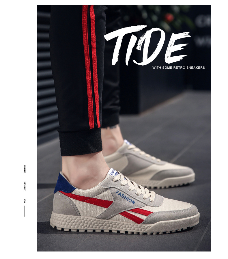 New Fashion Casual Flat Vulcanize Shoes For Men Breathable Lace-up Shoes Footwear Striped Shoes Flax And Cattle Cross Stitching 26 Online shopping Bangladesh
