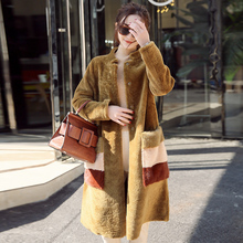Genuine sheepskin leather coat women winter thick warm shearing fur one piece leather jacket natural mink fur pockets NPI 71230F(China)