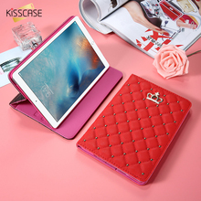 KISSCASE Full Protector Case For i Pad Mini 1 2 3 Leather Crown Diamond Pouch For Apple i Pad Air 2 Cover For i Pad 5 6 Mini 4
