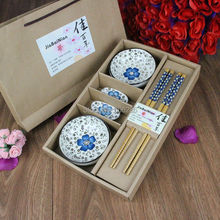 ceramic cutlery 6PCS sets Japanese style chopsticks and rack and dishes, flatware with gift boxes, high-end tableware