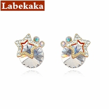 Labekaka Star Crystal from Swarovski Beautiful Stud Earrings Women Fashion gold Color Jewelry(China)