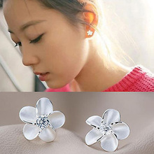 Charming Jewelry Accessories Flower Shaped 1 Pair Woman Ear Studs Color Silver color EAR-0377