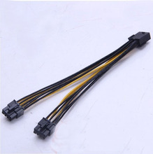 50pcs/lot PCI-E PCI Express Graphics Video Card GPU 8Pin to Dual 2x 8P ( 6+2 Pin ) Splitter Power Y Cable Cord 18AWG Wire 20cm