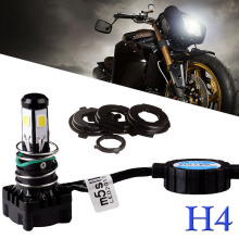 Mayitr 1 Set Motorcycle H4 Headlight 25W 2500LM 5 COB Hi/Lo Beam LED Light HID 6000K White Super Bright Lamp with Fan