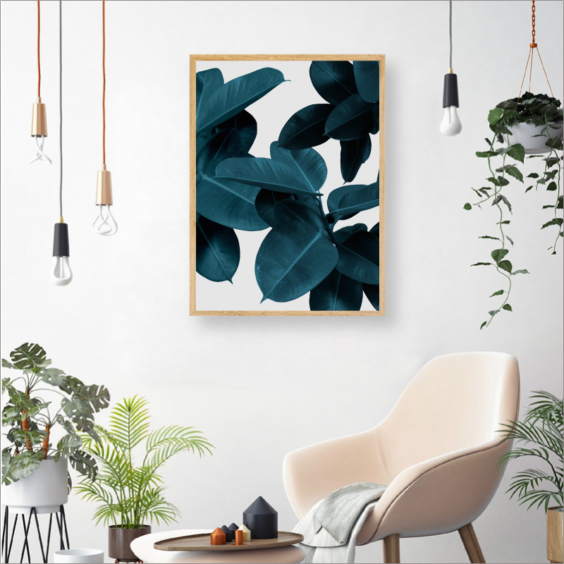 Blue Leaves Wall Art poster