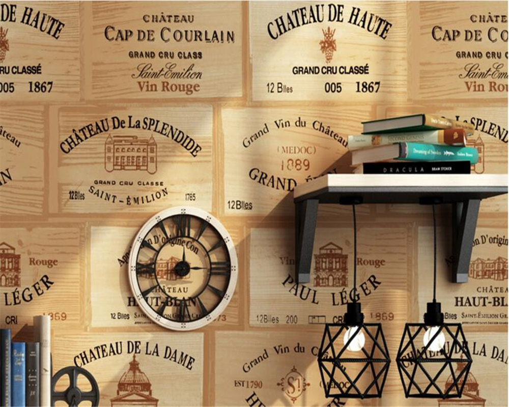 beibehang papel de parede American Countryside Wooden Board Bubble Pattern Vintage Red Wine Wallpaper Background 3d Wallpaper  <br>