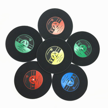 6PCS 4 Colors Non Slip Cup Mat Retro Vinyl Coasters Vintage CD Record Cup Pad Creative Home Bar Table Decor Coffee Drinks Mats