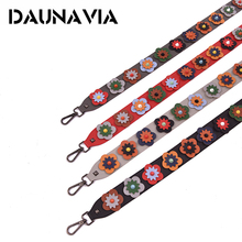 DAUNAVIA Flower Women Bag Strap Boho Style Summer PU Straps For Bags Elegant Lengthened Replacement Shoulder Straps