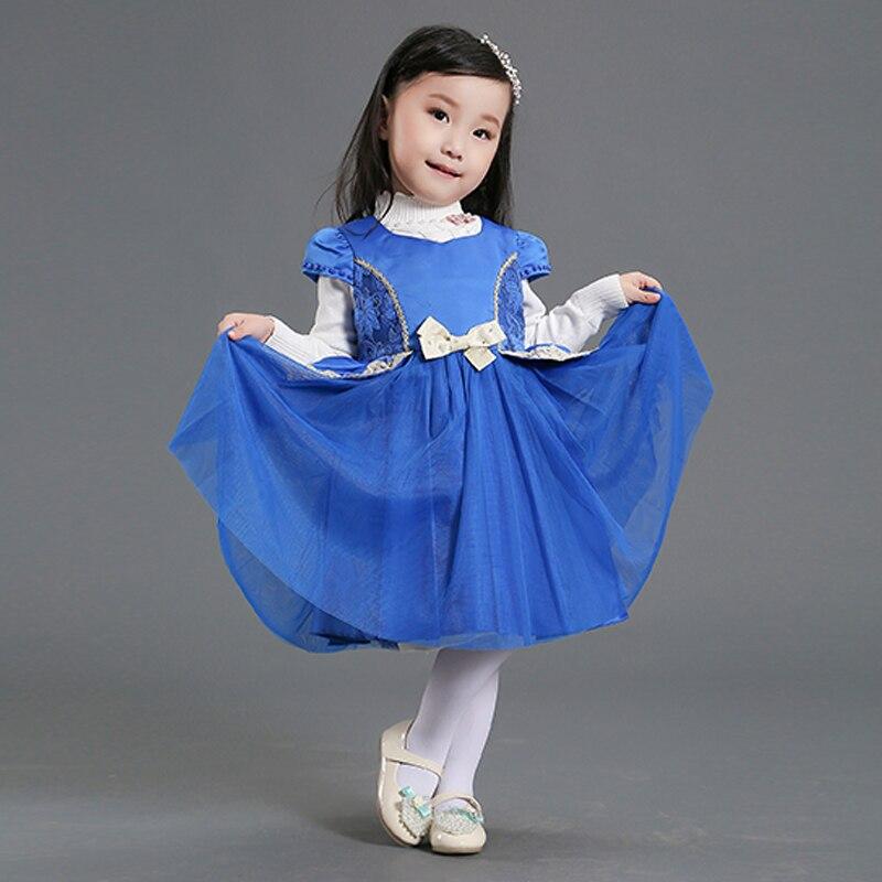 Nimble Autumn &amp; Winter Girls Dress Blue Lace O-neck Vestidos De Meninas Elegant Baby Dress Princess Costumes For 1-4Y Girls<br><br>Aliexpress