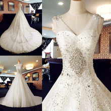 Real sample applique lace wedding dress beading crystal a-line pearls bride dress bridal dresses wedding gown XD94