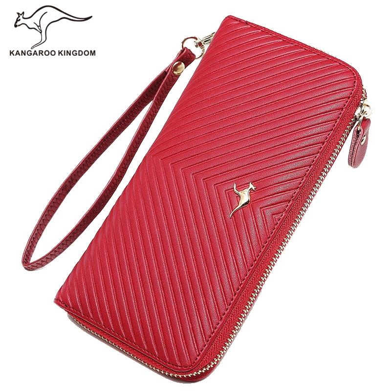 KANGAROO KINGDOM fashion women wallets split leather long clutch wallet lady brand leather purse<br>