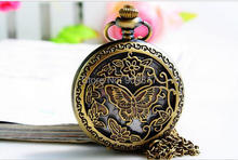 Vintage bronze hollow out butterfly pattern Quartz Pocket watch necklace jewelry, watch, clock, accessories, gift(China)