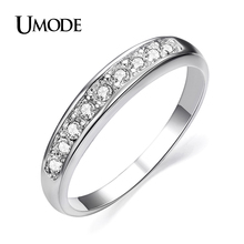 UMODE Fashion White Gold Color TOP Class 9 pcs Rhinestones Eternity Band Wedding Ring bague femme Jewelry JR0001B