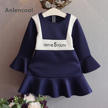 Anlencool Autumn Flare Sleeves Fashion Letter Design for Baby Girl Dress Children Clothes Girls Dress Navy Blue Princess Dress