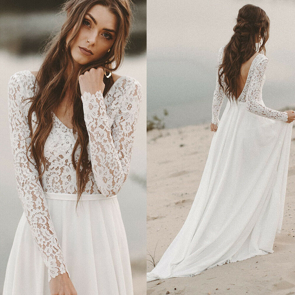 Boho Beach Wedding Dress 2019 A Line Long Sleeve Lace Vintage Chiffon Open Back Bridal Gowns Custom Made