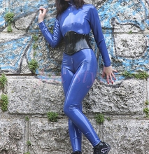 Buy customized dark blue latex catsuit back zip