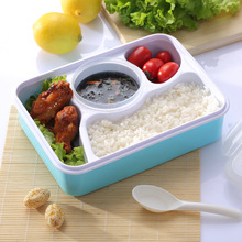 Bento box Tableware Dinnerware Food Container Bento Box with soup bowl Simple PP health for Kids Lovers()