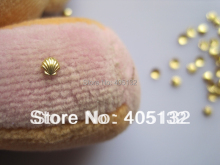 MD-455 3D 200pcs/bag Nail Decoration Small 3mm Metal Gold Shell Metal Nail Art Decoration