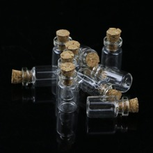 Hot Sale 10pcs 0.5mL Mini Small Tiny Clear Cork Stopper Glass Bottles Vials Wholesale