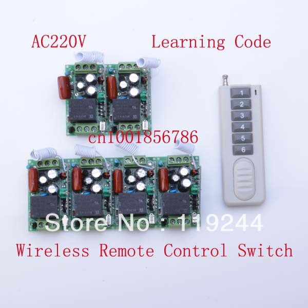 220V 1CH Radio RF Wireless Remote Control Switch System Learning Code 315/433Mhz For LED LAMP<br>