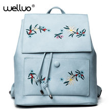 Fashion Floral Pu Leather Backpack Women Embroidery School Bag For Teenage Girls Brand Ladiesl Backpacks Blue Sac A Dos XA614B