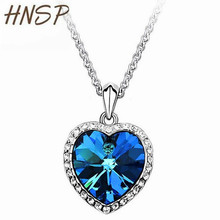 HNSP Ocean love Heart Necklaces Pendant For Women Jewelry 64cm Chain length Crystal Blue Color Fashion Female Gift