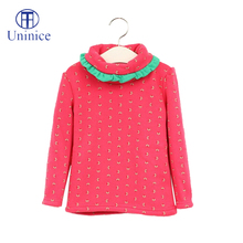 winter cheap clothes girl t shirt dots turtleneck warm long sleeve children's clothing importers 2015 nova kids 100% cotton