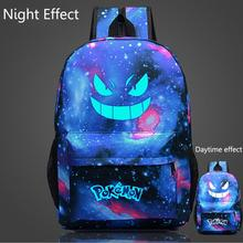 Free Shipping 1Piece Pokemon GO Luminous Backpack Shoulders Bag Laptop Schoolbag Catch Elf Oxford Bag For Children