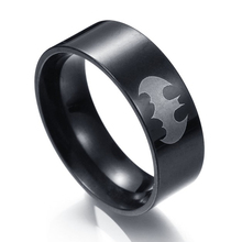 MMS Men's Black Batman Ring Jewelry wholesale Stainless Steel Superman Finger Ring Hot