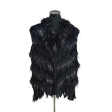 VR080 Free shipping women natural real  rabbit fur vest  with raccoon fur collar  waistcoat/jackets rabbit knitted wine red