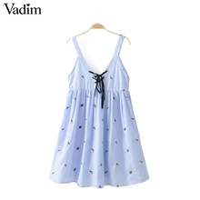 Vadim women sexy V neck flower embroidery striped spaghetti strap dress lace up backless ladies pleated dresses vestidos QZ2952