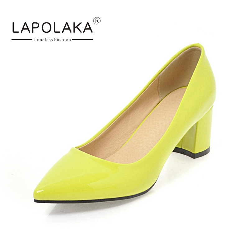 LAPOLAKA Womens Vintage Chunky Heels Pointed Toe Patent Leatherret Pumps Big Size 34-43 More Candy Color Shoes Woman<br>