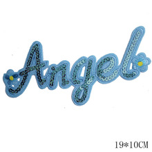 2pc/lot Fabric and sequins angel  iron on transfer patches hot fix rhinestone motif designs  iron on transfer appliques shirt