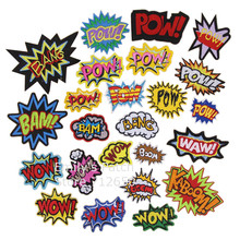 New arrival 10 pcs bam pow WOW BANG Embroidered patch iron on Applique clothing shoe hat embroidery patch badge DIY accessory