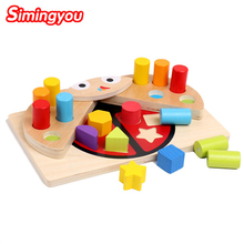 Simingyou Kids Wooden Toys Learning Education Ladybug Memory Shape Color Cognitive Matching Building Blocks C20 Drop Shipping(China)
