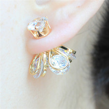 2015 design fashion brand jewelry Crystal Opal stud earing double Imitation pearls gold Metal earring for women