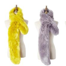 lady blinger manmade fur long scarf bright yellow grey black faux fur scarf women winter fashion fur muffler warm fake fur shawl