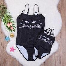 Мода для мамы и дочки 3D Черный кот бикини Купальники для малышек Семейные  комплекты купальный Костюмы купальник 96011aa79a6ad