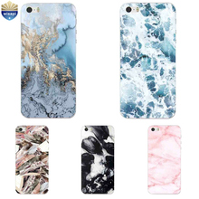 For iPhone SE Phone Case For iPhone 5G 5S Cover 4.0 Inch For iPhone 5C Shell Soft TPU Marble Lines Design Painted Coque