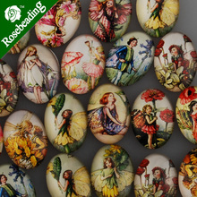 18x25mm oval pattern glass cabochon,mixed little girls pictures,flat back,thickness 6mm,sold 20pcs/lot-C4545(China)