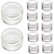 2017 New arrival 50pcs 3g Clear Plastic Empty Cosmetic Sample Containers Jars Pots Small Lip Eyeshadows Creams box Maquiagem(China)