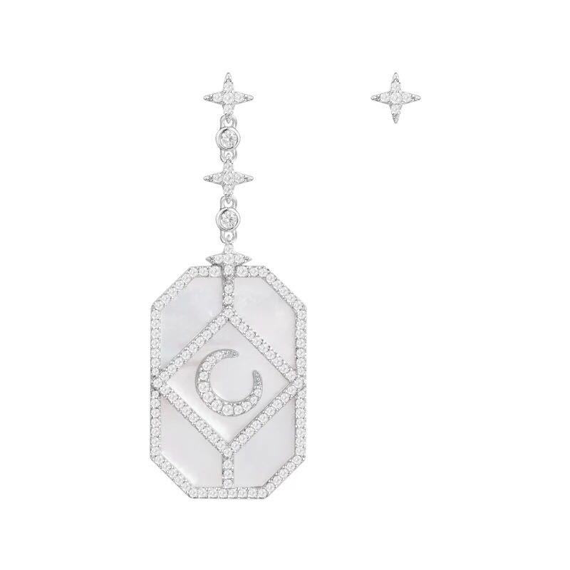 925 Sterling Silver Jewelry 3A Cubic Zirconia Party mini star moon earrings Luxury design mother of pearl  Monaco jewelry