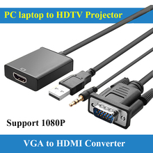 Free Shipping 0.15m VGA to HDMI Converter Cable Adapter with Audio 1080P VGA HDMI Adapter for PC Laptop to HDTV Projector