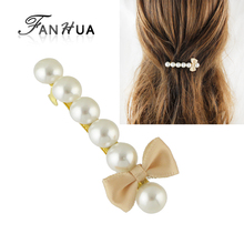 FANHUA Fashion Hair Jewelry Pink Red Black Ribbon Bowknot Simulated Pearl Hairgrips Hairwear for Women