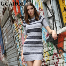 GCAROL New Arrival Women Knitted Mini Dress Color Contrast Striped Bodycon Knit Dress Sexy Stretch High Quality Autumn Winter