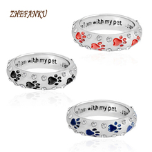 1PC Pet Dog Claw rhinestones Ring for Women Pet Animal Pet Ring Dog Paw Footprints Ring Jewelry(China)