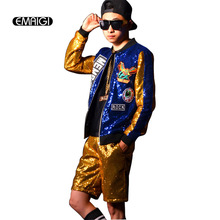 Custom Made Stage Show Costumes Men Street Fashion Hip-hop Jacket Male Sequins Splicing Baseball Sequined Jacket