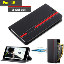 For LG X Screen K500N K500Y Case Flip Luxury Fashion PU Leather Back Fundas Coque Cover For LG X View K500DS With Phone Stand